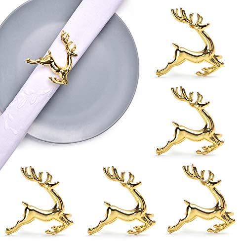Supermade Golden Metallic Reusable Bling Reindeer Napkin Ring Buckle Set of 6 pcs Weddings Dinners Parties Serviette Washable Deer Tabletop Adornment Holder Table Décoration -