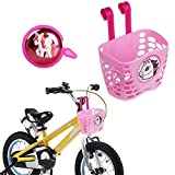 Mini-Factory Kid's Bike Basket and Bell 2pcs Play Set for Kid Girls, Cute Cartoon Unicorn Pattern Bicycle Handlebar Basket Plus Safe Cycling Ring Horn