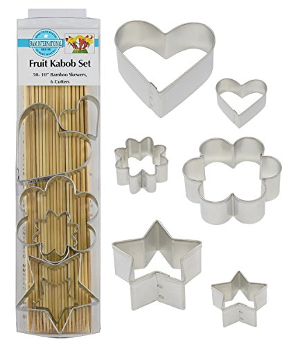 R&M International 3700 Fruit Kabob Set, Includes 50 Bamboo Skewers and 6 Cutters