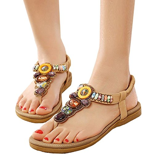 Minetom Women Girls Summer Sandals Bohemian Rhinestones Embellishment Shoes Black A STnEm9