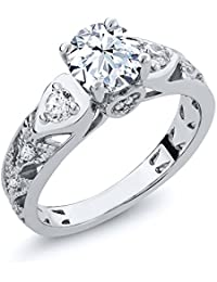 2.46 Ct Round Hearts And Arrows White Created Sapphire 925 Sterling Silver Engagement Ring (Available in size 5, 6, 7, 8, 9)