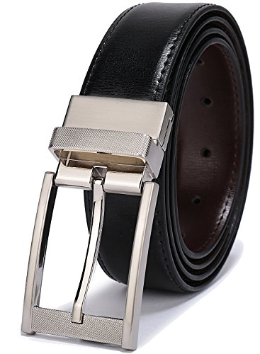 Silver Reversible Belt - Belts for Men Reversible Leather 1.25