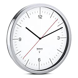 Blomus Crono, Radio Controlled Wall Clock, with Dial, Stainless Steel Matt, White, Ø 30 cm, 65436