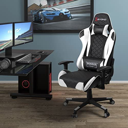 Devoko Racing Style Gaming Chair Height Adjustable Swivel PC Computer Chair with Headrest and Lumbar Support Leather Reclining Executive Office Chair (White) 514KWPPL7EL