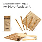 Bamboo Sushi Kit, Carbonized Rolling Mats for Mold-Resistant, Included 2 Rolling Mats - 5 Pairs Chopsticks - Paddle - Spreader, Roll on! Beginner Sushi Making Kit