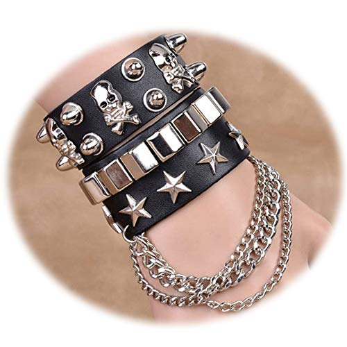 LOLIAS 2 Pcs Multilayer Rivet Punk Rock Bracelet Woven Braided Leather Bracelets for Men Women Cuff Bangles Wrist - Equal 80 Exchange