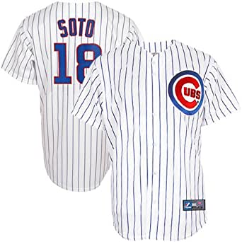 MLB Men's Chicago Cubs Geovany Soto White/Royal Pinstrp Home Short Sleeve 6 Button Synthetic Replica Baseball Jersey Big & Tall  (White/Royal Pinstrp, XXXX-Large)