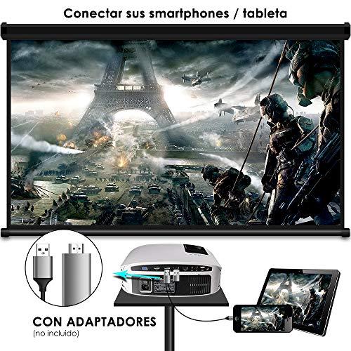 Proyector HD, ELEPHAS 1080P LCD Video proyector con 3800 lúmenes, Cine en casa con una Pantalla de 200 Pulgadas, Compatible...