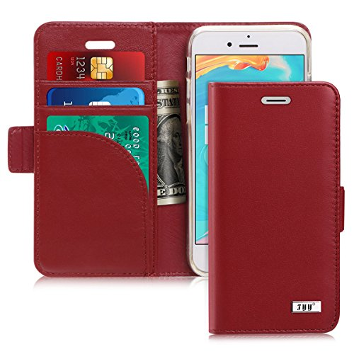 FYY [Genuine Leather] Case for iPhone 8 /iPhone 7 (4.7 inch) 2016, [RFID Blocking] [ Kickstand] Flip Folio Wallet Case with Credit Card Slots Wine Red