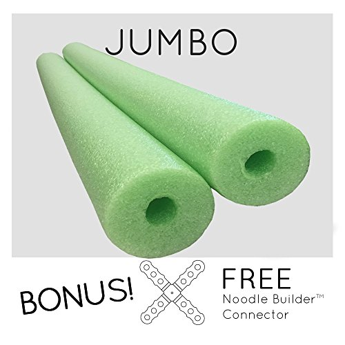 2 Pack Oodles Monster 55 Inch x 3.5 Inch Jumbo Swimming Pool Noodle Foam Multi-Purpose Lime Green ()