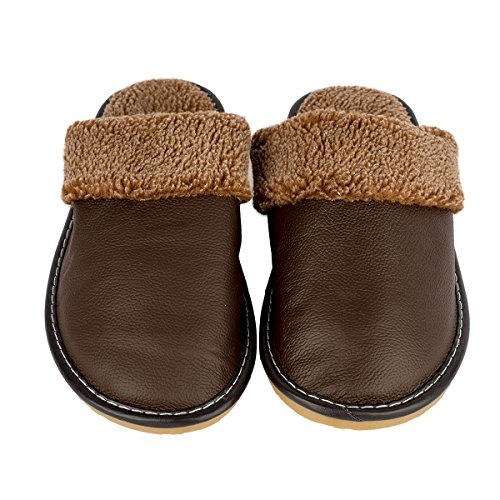 Haisum Mens Inverno Autunno Vera Pelle Morbida E Confortevole Fodera Accogliente Slip-on Foderato Pantofole Casa Mulo Marrone Scuro