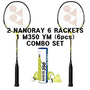 Yonex 2 Nanoray 6 Badminton Racket Mavis 350 Shuttle Combo Set