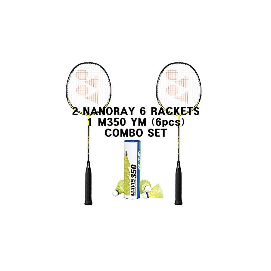 Yonex 2 Nanoray 6 Badminton Racket Mavis 350 Shuttle Combo Set