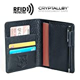 Pagalli Vincente Men Women Unisex Premium Genuine Leather RFID Blocking Pen Boarding Pass Credit Card ID Theft Protector Thin Slim Passport Travel Holder Wallet Wallets, Blue