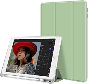 Aoub case for iPad 9.7 inch 2018/2017 Case with Pencil Holder - Lightweight Soft TPU Transparent Back Cover with Auto Sleep/Wake, Protective for iPad 5th/6th Generation (Light Green)