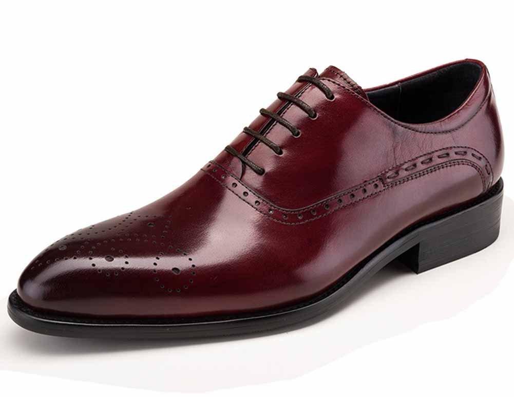 GLSHI Männer Wiesen Oxford Lederschuhe British Carved Breathable Schuhes Mode Junge Schuhe