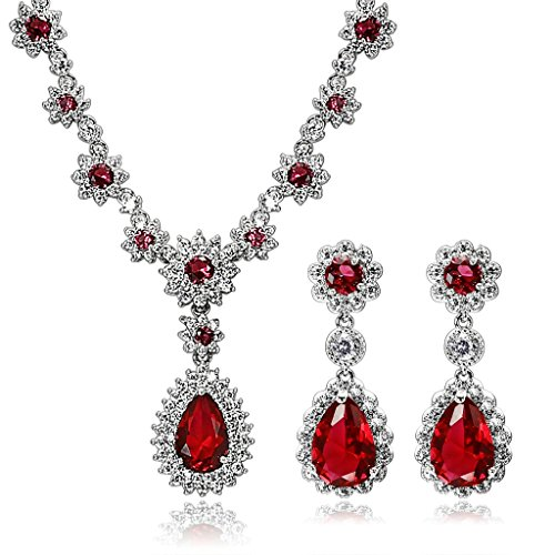 AmDxD Jewelry Sets Silver Plated Women Necklace and Earrings Green Flower Round CZ,as Best Gift for Girl by AMDXD