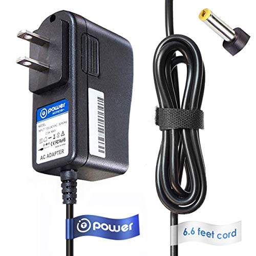 Player Model Bat - T-Power 9v (6.6ft Long Cable) AC Adapter Compatible with Durabrand BAT-09 DUR-8.5 DUR1500 DPX3290L DUR1700 DPX3290L DUR85 PDB702 PDV702 ESA0015-02 ESA001502 PX001A TAD-10 PX001A TAD-10 TAD8 DVD Player