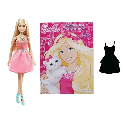 G&G At Home Barbie Doll with Barbie Coloring Activity Book Includes Stickers and Mystery Dress with Knecklace and Small Purse- a 5 Piece ()
