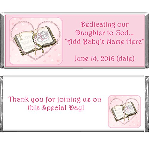 Personalized Custom Pink Girl Baptism Religious Chocolate Candy Bar Wrappers & Foils Set of 24 Baptism Chocolates
