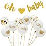 Healthy Every Gold Baby Shower Decoration Kit by Decorations: Baby Shower Supplies for Boys and Girls, OH Baby Party Banner, Cute and Sparkly Balloons for Birthdays and Pregnancy Announcement