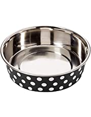 Petface Bella Stainless Steel Food or Water Bowl for Dogs, Black/White,Large