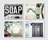 Rustic Bathroom Decor Set of 4 8x10'' Prints - Cottage Bath Wall Art in Aqua Black and Teal.