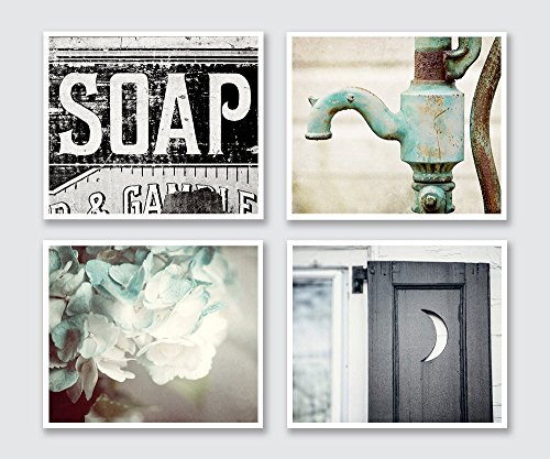 Rustic Bathroom Decor Set of 4 8x10'' Prints - Cottage Bath Wall Art in Aqua Black and Teal. by Lisa Russo Fine Art Photography