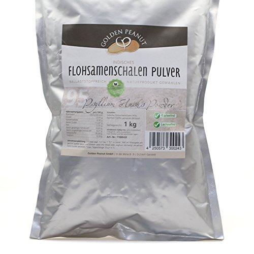 Golden Peanut Flohsamenschalen Pulver 95% fein gemahlen, geprüfte Lebensmittelqualität, 1000g Beutel