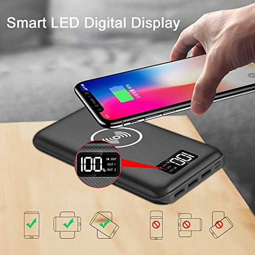 convenient Charger potential Bank KEDRON 24000mAh cellular Charger as a result of LED Digital indicate and 3 Outputs combined Inputs External Battery Pack for iPhone XiPhone 8Samsung Galaxy S8 Note 8 and a great dea Black External Battery Packs