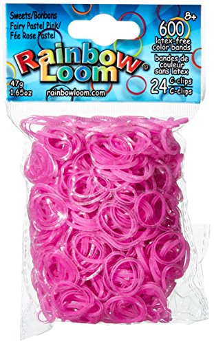 Rainbow Loom Sweets Fairy Pastel Pink Rubber Bands with 24 C-Clips (600 Count) ()
