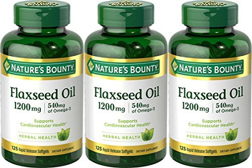 (Natures Bounty Flaxseed Oil 1200 mg Rapid Release Liquid Softgels - 125 Ea, 3 Pack by Nature's)