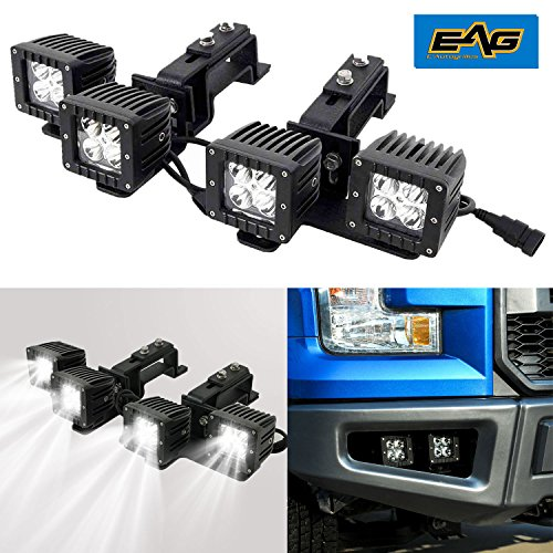 E-Autogrilles Vicious Conversion Bumper Dual Fog Light Two Way Adjustable Brakets With 4x 12W LED Lights for 09-14 Ford F150