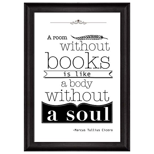 Bulkhead26® - Black and White Quote - A Room Without Books is Like a Body Without a Soul by Marcus Tullius Cicero - Framed Art Prints, About Decor - 24x36 inches