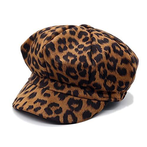 (ZLS Women's Retro Suede Leopard Ivy Newsboy Gatsby Cabbie Painter Cap Hats (335Tan))