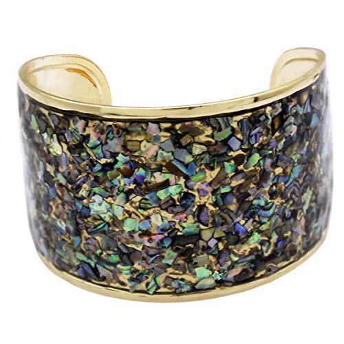 RechicGu Gold Ethnic Abalone Shell Inlay Mexico Aztec Etruscan Bracelet Bangle Cuff