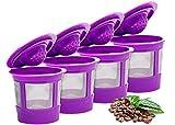 keurig ekobrew - Keurig 4 Reusable K Cup Coffee Filters For Keurig Family 2.0 and 1.0 Brewers Fits K200, K300/K350, K400/K450/K460, K500/K550/K560 (Purple, 4)