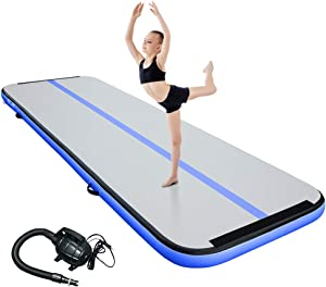 CANWAY Air Track Inflatable Gymnastics Tumbling Mat, 10ft/13ft/16ft/20ft Gymnastics Training Mat with Electric Air Pump for Home/Outdoor/Gym/Cheerleading/Yoga