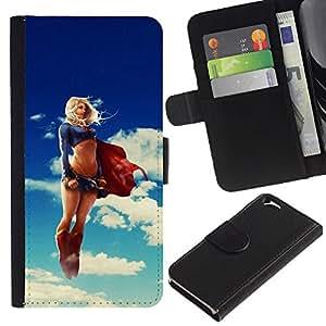 KingStore / Leather Etui en cuir / Apple Iphone 6 / Divertido Sexy Mujer estupenda Superhero