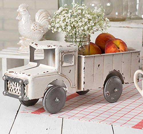 Decorative Truck - Vintage White Rustic Truck Planter Decorative Tabletop Storage
