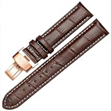 12-17mm Genuine Leather Ladies Womens Rose Gold Buckle Wrist Watch Bands Strap (15mm, Brown & White Line)