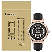 Lamshaw Quick Release Smartwatch Band for Michael Kors Access Sofie, Leather Strap Replacement Band for MK Access Smartwatch Sofie Gen 2v (Black)