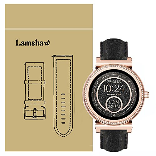 e Smartwatch Band for Michael Kors Access Sofie, Leather Strap Replacement Band for MK Access Smartwatch Sofie Gen 2v (Black) (Sofie Leather)