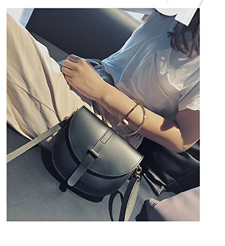 Bag use Shoulder Simple Ring Messenger Travel Purse for Yaoijin Women Style Iron Crossbody Bag Dual Black xF1x0Xq