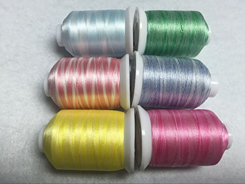 Sinbel Polyester Embroidery Thread 6 Variegated Colors For Brother Babylock Janome Singer Pfaff Husqvaran Bernina Machines (1) - Multi Colored Polyester Thread