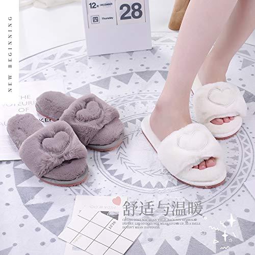 Pantofole Interni Rinforzo Cotone Scarpe Inverno Grigio Qsy Shoe Femminile Tendine Antiscivolo Amore Per In Tessuto Peluche 5YxUIPwq