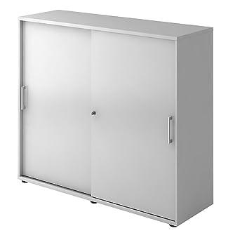 Armario puerta corredera, altura 1100 mm, 2 estantes, color gris ...