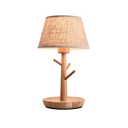 YAN JUNau Nordic Wood Table lamp with E27 Dimmer Switch ...