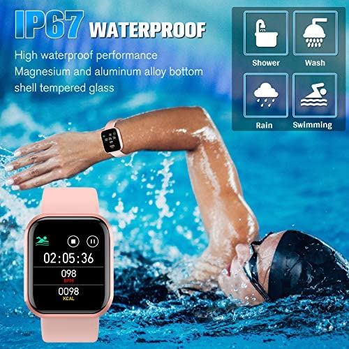 Peakfun Smart Watch,Fitness Watch Activity Tracker with Heart Rate Blood Pressure Monitor IP67 Waterproof Touch Screen Bluetooth Android Phone Smartwatch Sports Watch for Android iOS Phones Women Pink 4