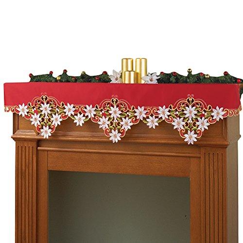 Collections Etc Poinsettias Elegant Christmas Mantel Scarf (Christmas Mantel Scarf)